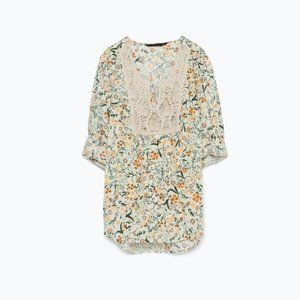 Zara Floral Cuffed-Sleeve Blouse with Lace 'Bib'